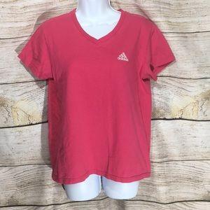 Adidas pink v neck T-shirt medium #596